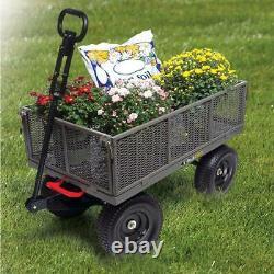1200 lb Steel Dump Cart Wheelbarrow Heavy Duty Garden Wagon Lawn Tractor Trailer