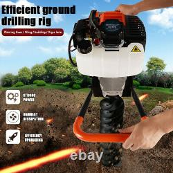 52cc Petrol Earth Auger Fence Post Hole Borer Garden Ground Drill 3Bits & Ext