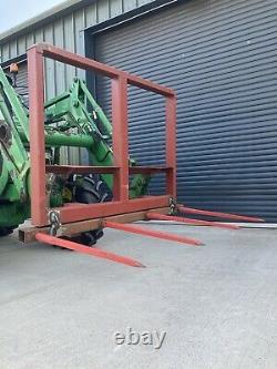 Bale Spike, Foldable Euro 8 Brackets Straw Bales, Tractor Forks, Telehandler