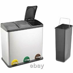 Evre 60L Stainless Steel Multi 3 Compartment Large Recycling (3x 20L) Pedal Bin