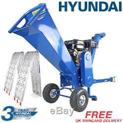 Hyundai 7hp Petrol Wood Chipper Heavy Duty ELECTRIC START HYCH7070E-2 Inc Ramps