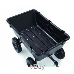 Lawn Tractor Yard Dump Cart Garden Wagon Utility Wheelbarrow Trailer Mower Black