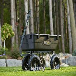 Lawn Tractor Yard Dump Cart Mower Trailer Garden Wagon Utility Wheelbarrow Black
