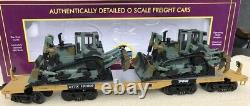 MTH PREMIER TTX 47 HEAVY DUTY FLAT CAR With ARMY D8R MILITARY TRACTORS 20-98378