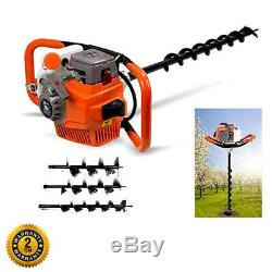 Petrol Earth Auger 49cc 2-Stroke Fence Post Hole Borer Ground+Drill 3 Bits 4/6/8