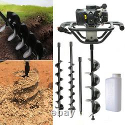 Petrol Earth Auger Fence Post Hole Borer Ground Drill 3 Bits 52cc Extension