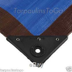 Tarpaulin Heavy Duty Ground Sheet Camping Tarp 185gsm Blue/Brown