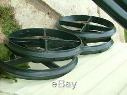 Vintage Shepherds Hut Cast Iron Wheels x 4 Big Heavy Duty all same size + axles
