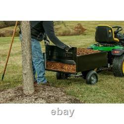 10 Cu. Ft Dump Cart Steel Garden Yard Lawn Tower Tractor Trailer Wheels Riding