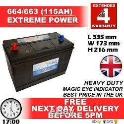 12v 115ah 110ah 664 Batterie Heavy Duty Truck Taxi Tracteur Camion Van Bateau Loisir