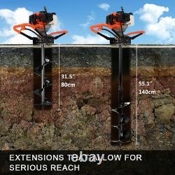52cc Pétrol Terre Auger Fence Post Hole Borer Garden Forage Au Sol 3bits & Ext