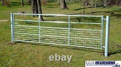 Half Mesh Gate Hd Galvanised Metal Farm Entrée Sécurité Dog Lamb Safe 3ft-16ft