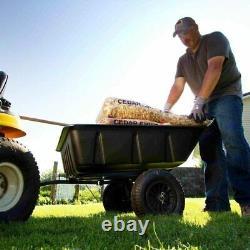 Heavy Duty Garden Utility Trailer Lawn Yard Dump Wagon Roue Barrow Vtt Tracteur