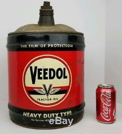 Huile De Tracteur Veedol Vintage Type Heavy Duty Tidewater Bidon D'huile En Métal De 5 Gallons Vg