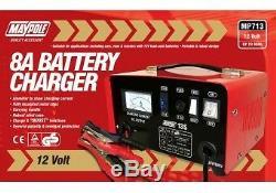 Maypole Heavy Duty Acier 8a 8 Amp 12v Voiture Van Tracteur Chargeur De Batterie # Mp713