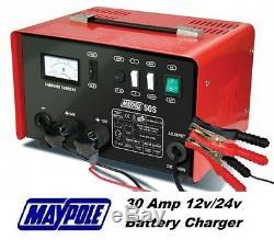 Maypole Heavy Duty Steel 30 Amp 12v / 24v Voiture Van Tracteur Chargeur De Batterie # Mp750