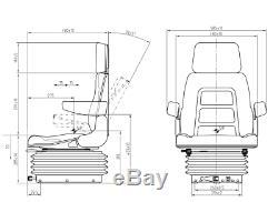 Siège De Suspension Universel Robuste Avec Dossier Rabattable Chariot Élévateur / Dumper / Tracteur