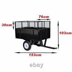 Tracteur De Pelouse De Jardin Trailer Transport Sol Murs Latéraux Pliants 300 KG Charge