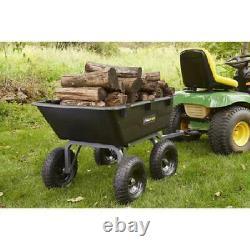 Tracteur De Pelouse Yard Dump Cart Remorque De Tondeuse Jardin Wagon Utilitaire Brouette Noir