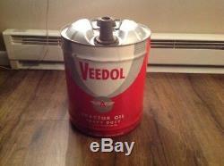 Vintage Getty Veedol Tracteur Motor Oil Heavy Duty Métal Can Seau Pail 5 Gallon